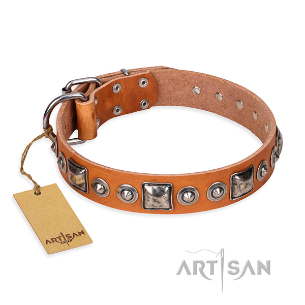 Leather dog collar made of reliable material with strong D-ring