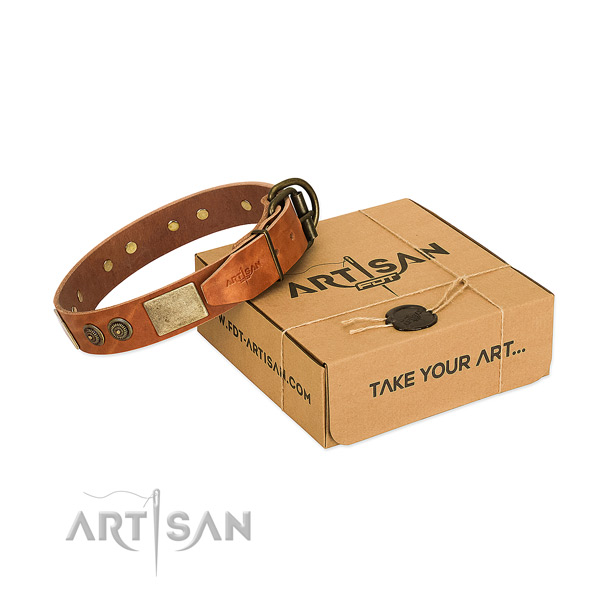 Corrosion proof hardware on genuine leather dog collar for handy use