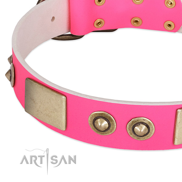 Durable traditional buckle on full grain leather dog collar for your pet