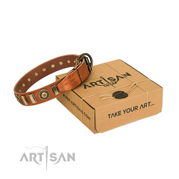 Soft to touch full grain genuine leather dog collar with rust resistant D-ring
