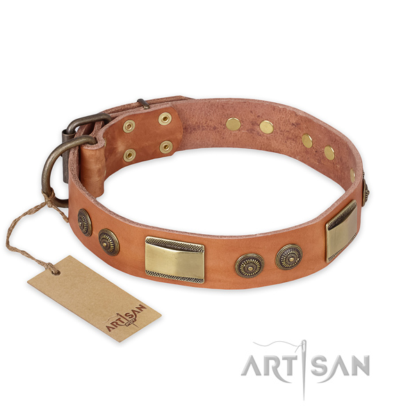 Fashionable full grain genuine leather dog collar for comfy wearing