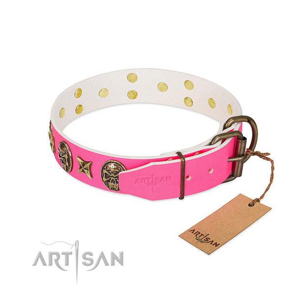 Rust resistant D-ring on natural genuine leather collar for daily walking your canine
