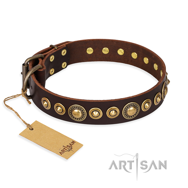 Flexible leather collar handcrafted for your canine