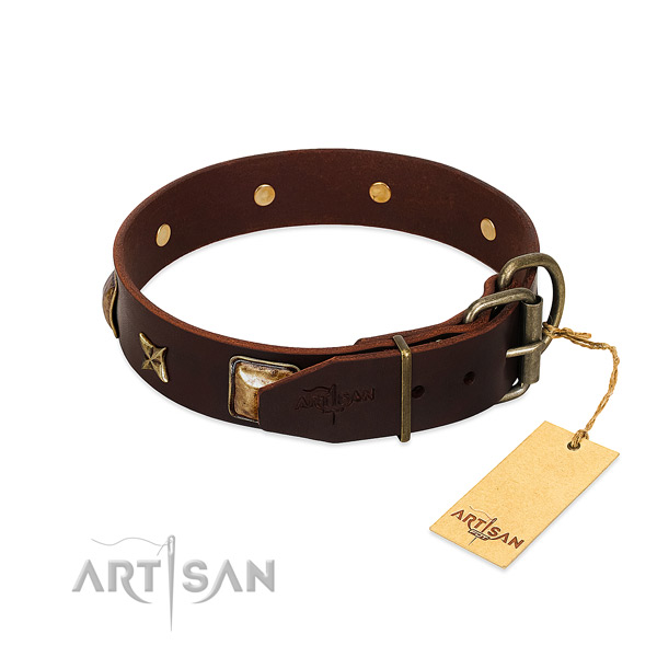 Genuine leather dog collar with strong buckle and decorations