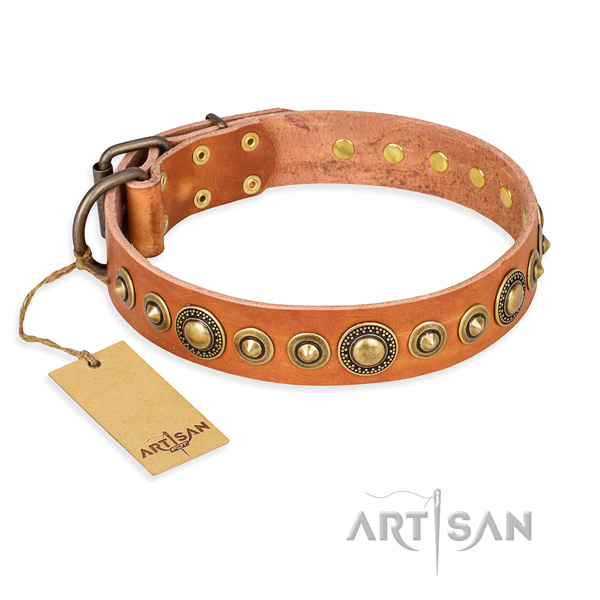 Soft full grain natural leather collar crafted for your canine