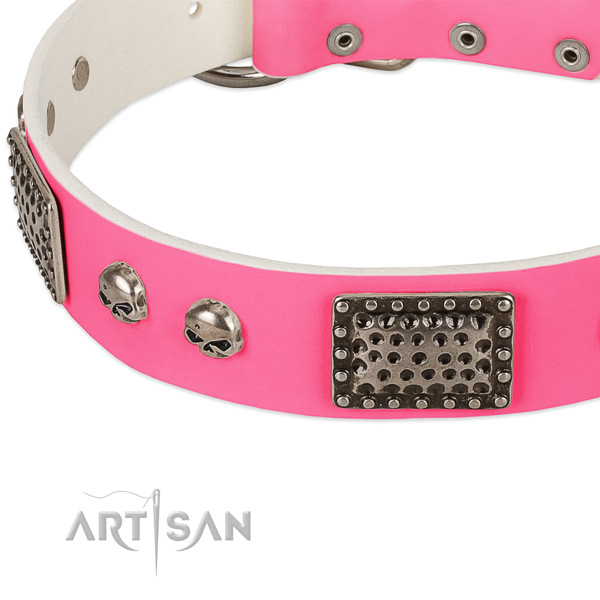 Durable hardware on genuine leather dog collar for your canine