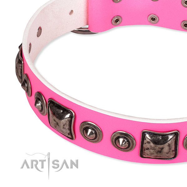 Soft to touch full grain leather dog collar made for your handsome dog