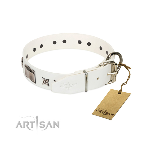 Easy to adjust collar of full grain genuine leather for your stylish pet