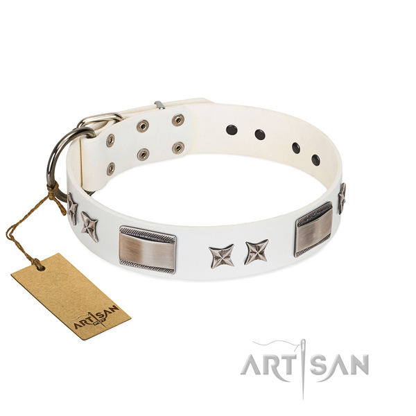 Adjustable dog collar of full grain leather