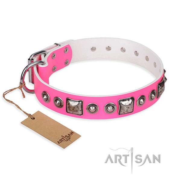 Full grain genuine leather dog collar made of soft material with rust-proof fittings