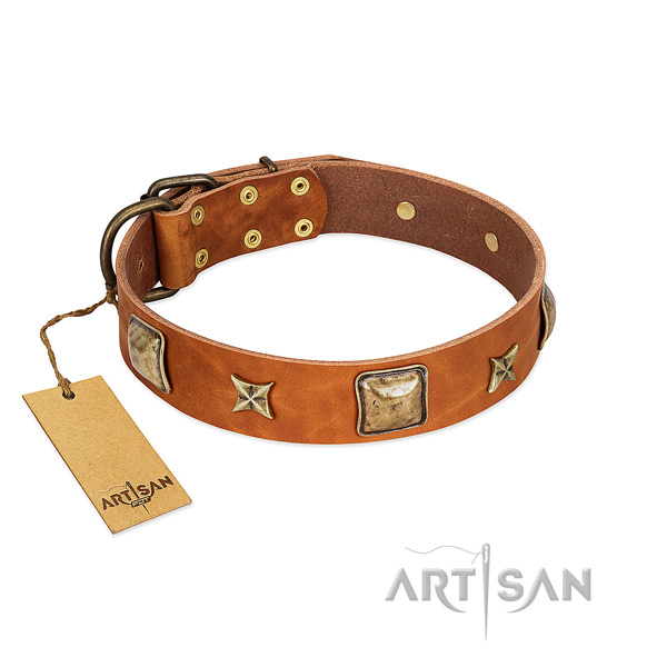 Comfortable natural genuine leather collar for your doggie