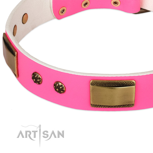 Strong hardware on full grain natural leather dog collar for your canine