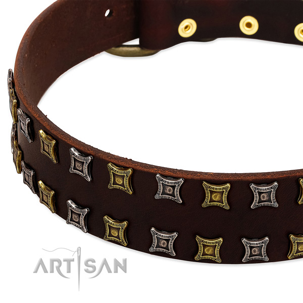 Reliable full grain genuine leather dog collar for your impressive canine