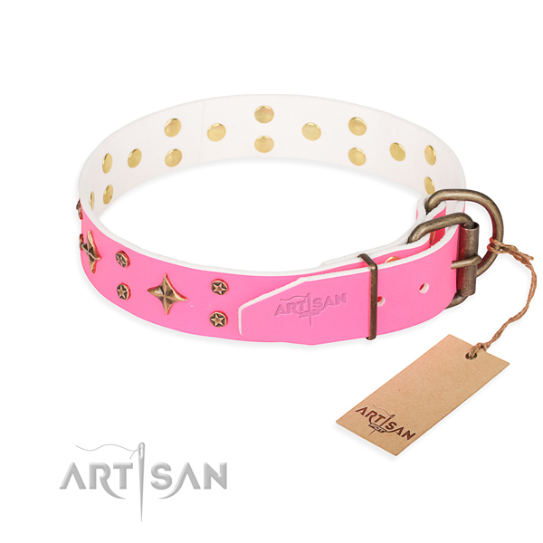 Handy use studded dog collar of top notch natural leather