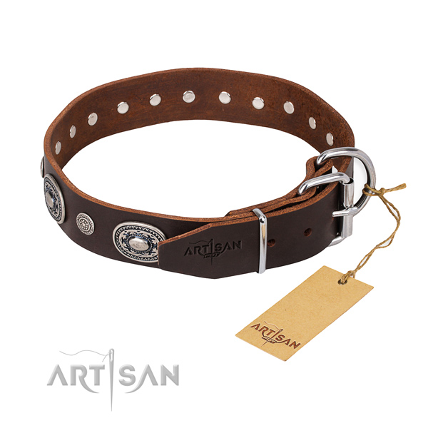 Reliable full grain leather dog collar created for fancy walking