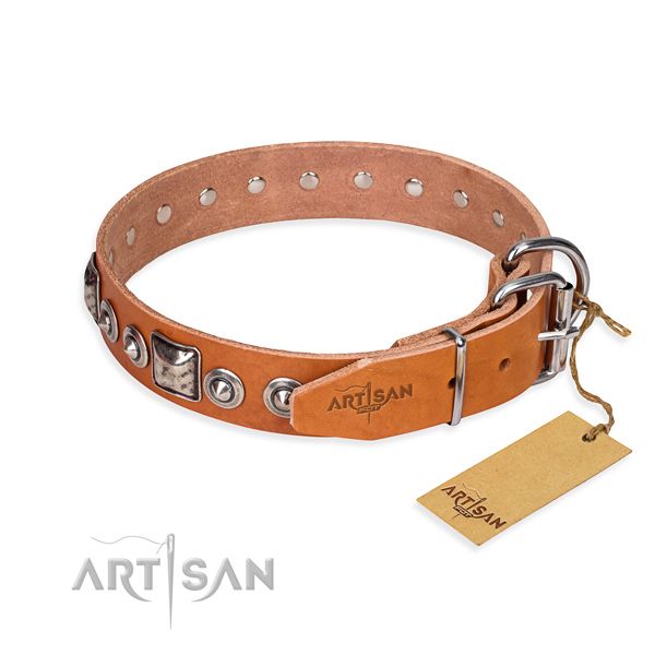 Full grain natural leather dog collar made of top rate material with corrosion resistant decorations
