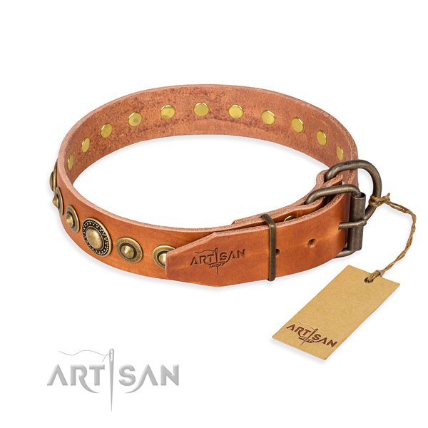 Soft full grain leather dog collar made for comfy wearing