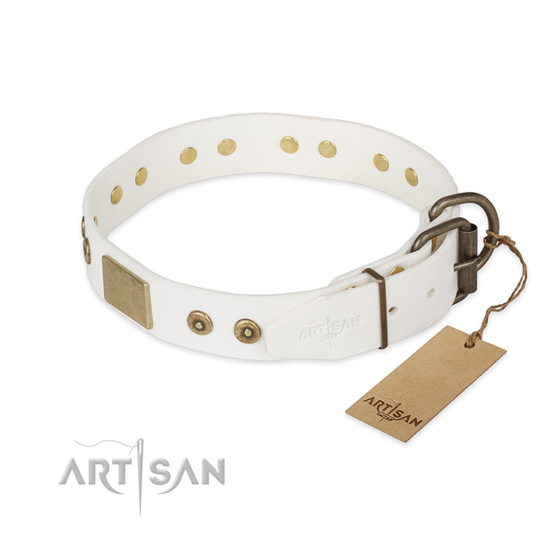 Corrosion resistant D-ring on full grain leather collar for fancy walking your canine