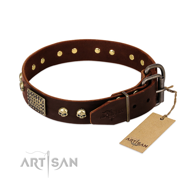 Rust resistant embellishments on comfortable wearing dog collar