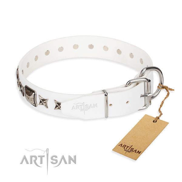 Top notch studded dog collar of full grain natural leather