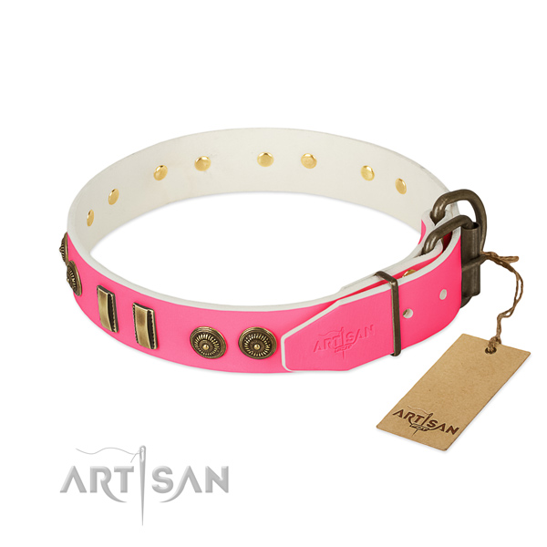 Rust-proof D-ring on natural leather dog collar for your four-legged friend