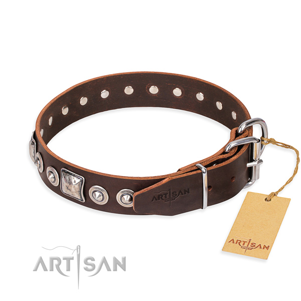 Full grain leather dog collar made of reliable material with corrosion resistant adornments