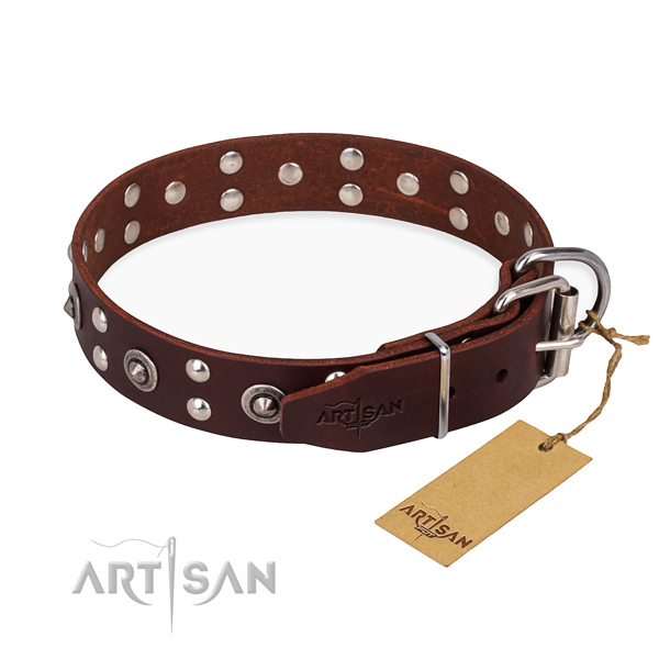 Rust resistant hardware on leather collar for your lovely pet