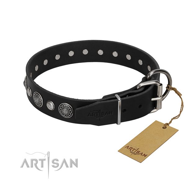 Reliable full grain leather dog collar with designer decorations
