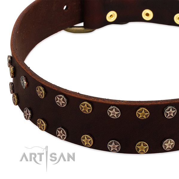 Daily walking genuine leather dog collar with exquisite decorations