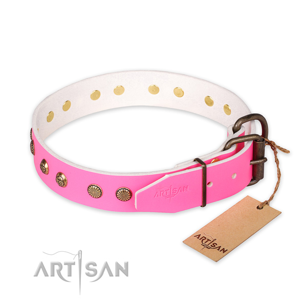 Corrosion resistant traditional buckle on full grain leather collar for your stylish dog