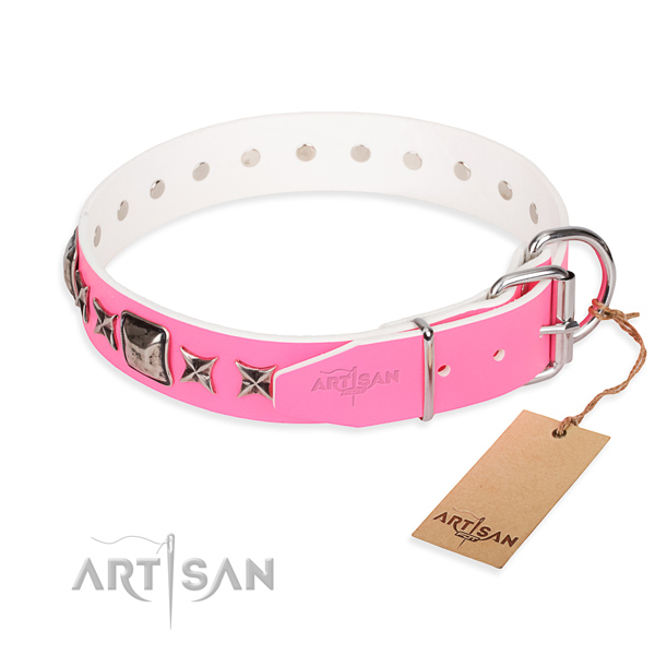 Finest quality embellished dog collar of full grain genuine leather