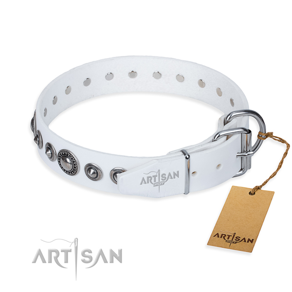 Full grain leather dog collar made of soft to touch material with durable adornments