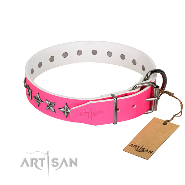 Best quality natural leather dog collar with extraordinary decorations