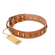 """Natural Beauty"" FDT Artisan Tan Leather German Shepherd Collar with Old Bronze-like Circles and Plates"