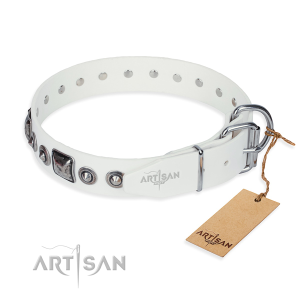 Top notch natural genuine leather dog collar created for daily use