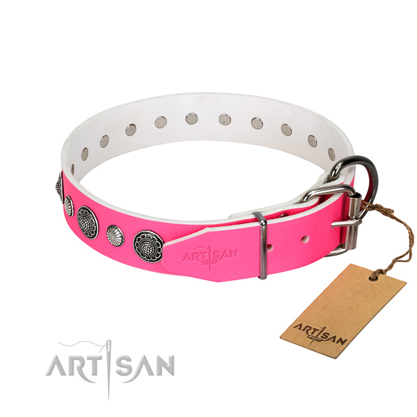 Top notch Full grain natural leather dog collar with corrosion proof D-ring