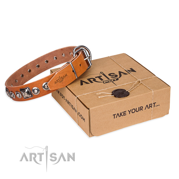 Genuine leather dog collar made of top notch material with corrosion proof hardware