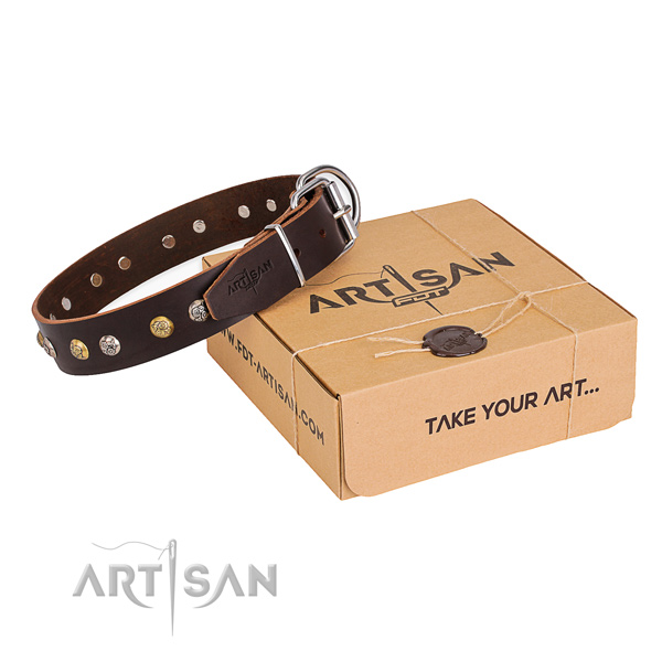 Durable full grain genuine leather dog collar created for daily use