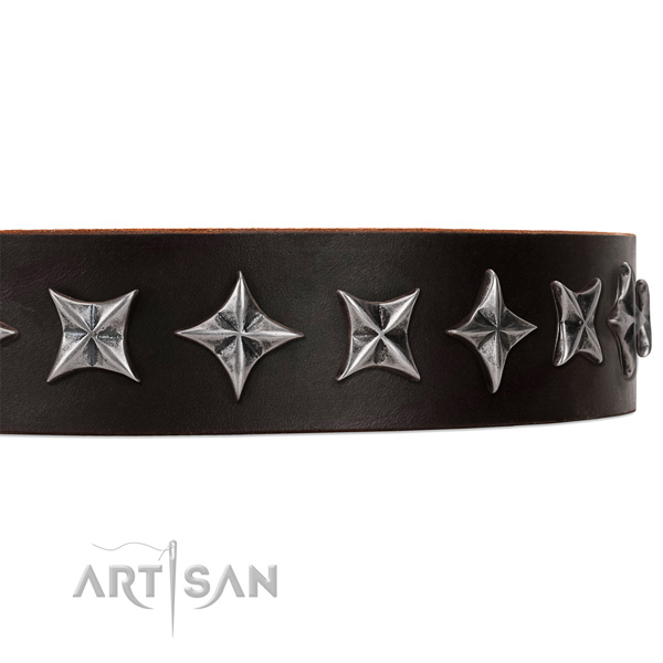 Handy use studded dog collar of strong full grain natural leather