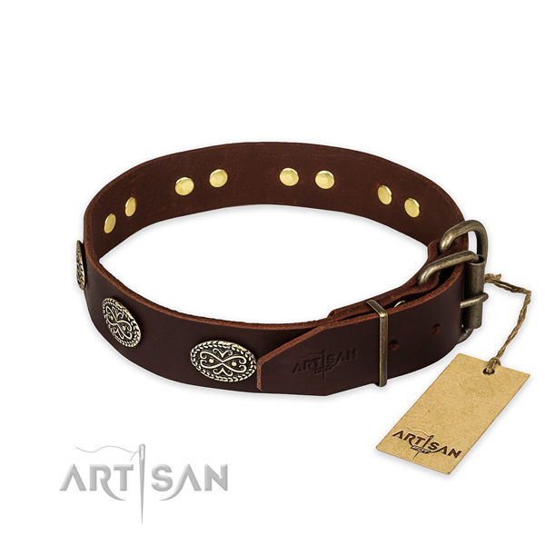 Corrosion resistant D-ring on natural genuine leather collar for your lovely canine