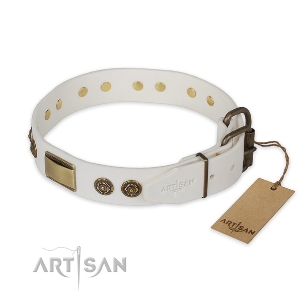 Rust resistant fittings on natural genuine leather collar for walking your doggie