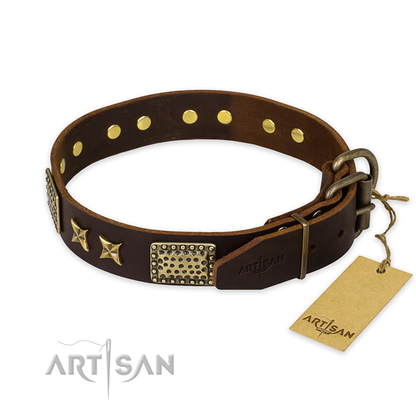 Durable fittings on natural genuine leather collar for your lovely four-legged friend