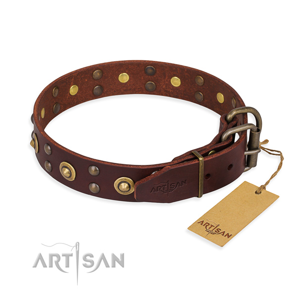 Corrosion proof traditional buckle on full grain natural leather collar for your handsome dog