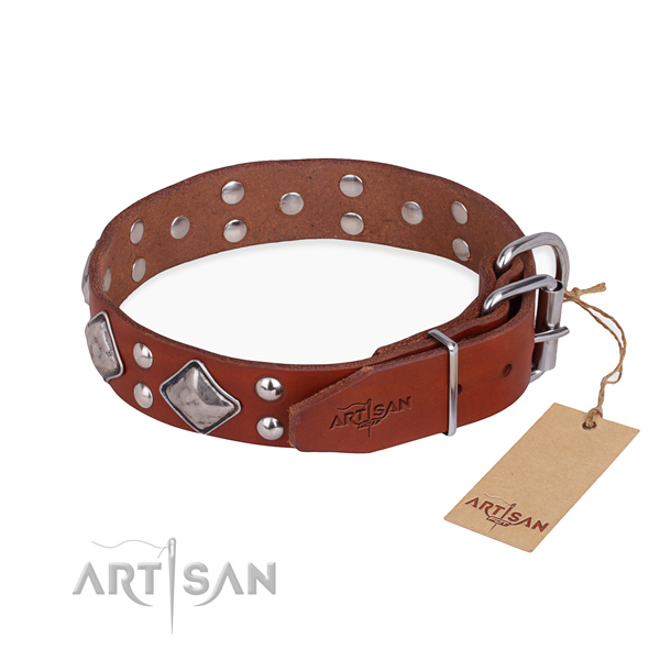 Full grain genuine leather dog collar with trendy durable adornments