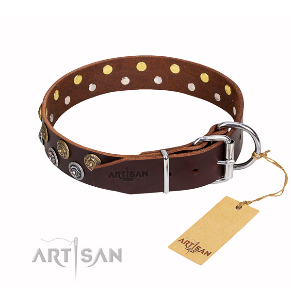 Handy use decorated dog collar of fine quality leather