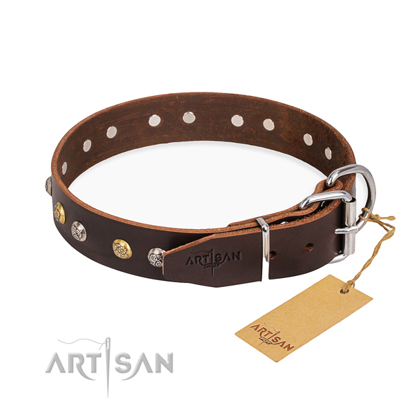 Gentle to touch full grain natural leather dog collar created for fancy walking