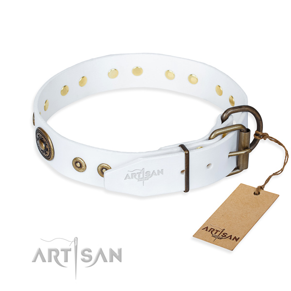 Full grain leather dog collar made of soft material with strong adornments
