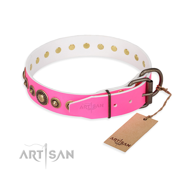 Top rate full grain leather dog collar made for everyday use