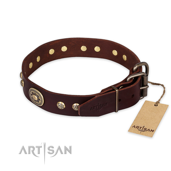 Durable hardware on full grain leather collar for everyday walking your canine