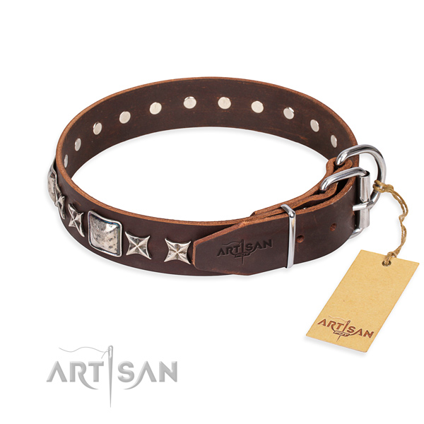Fine quality embellished dog collar of genuine leather